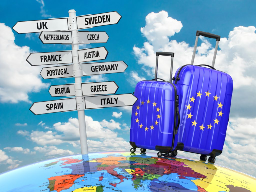 Pest Control Travel Advice - Suitcases and signpost what to visit in Europe?
